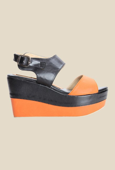 Cobbler's Thread Black & Orange Back Strap Sandals