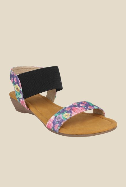 Cobbler's Thread Purple & Black Sling Back Wedges