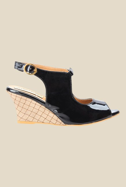 Cobbler's Thread Black Back Strap Wedges