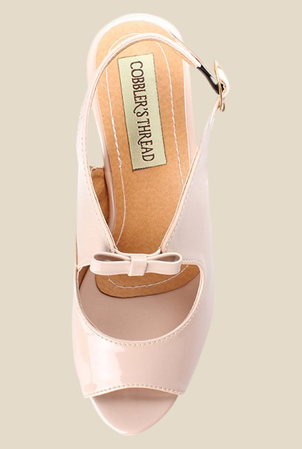 Cobbler's Thread Beige Back Strap Wedges