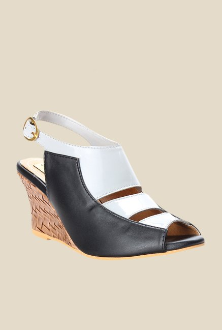 Cobbler's Thread White & Black Back Strap Wedges