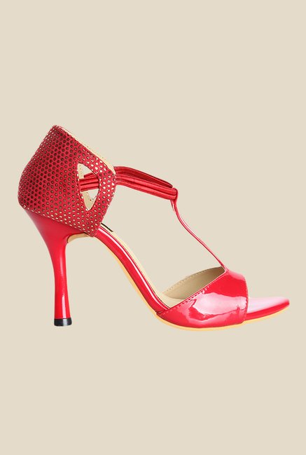 Cobbler's Thread Red Stiletto Heeled Sandals