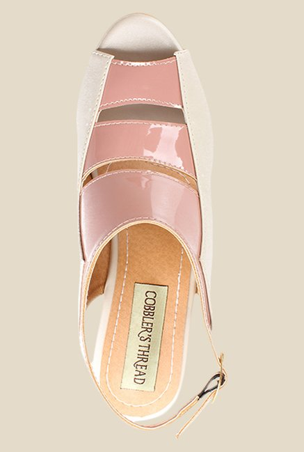 Cobbler's Thread Peach & Beige Back Strap Wedges