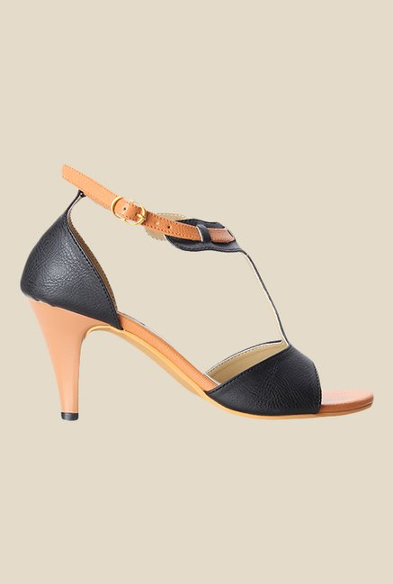 Cobbler's Thread Black & Beige Ankle Strap Sandals