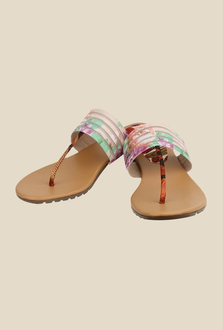 Cobbler's Thread Cream & Brown T-Strap Sandals