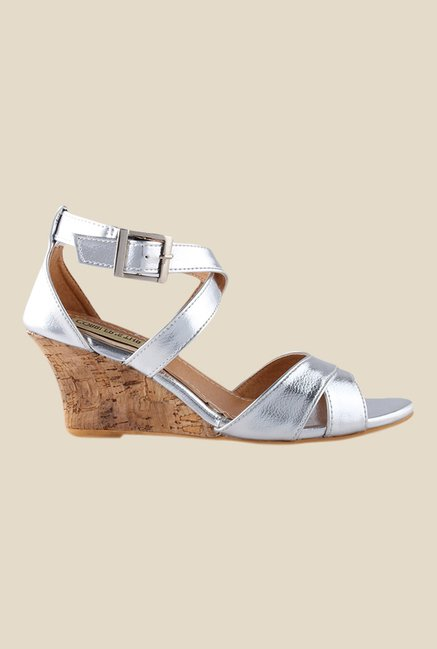 Cobbler's Thread Silver Ankle Strap Wedges