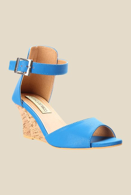 Cobbler's Thread Blue Ankle Strap Wedges