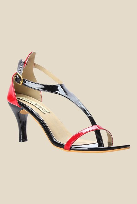 Cobbler's Thread Black & Red Ankle Strap Sandals
