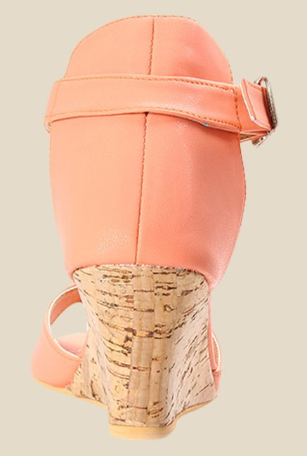 Cobbler's Thread Peach Ankle Strap Wedges