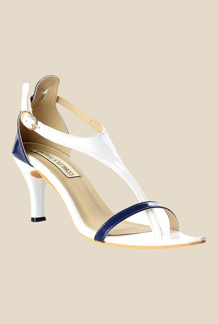 Cobbler's Thread White & Navy Ankle Strap Sandals
