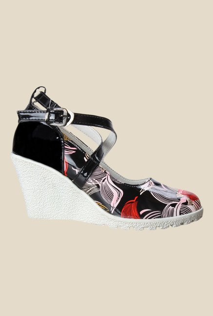 Cobbler's Thread Black & Red Cross Strap Wedges