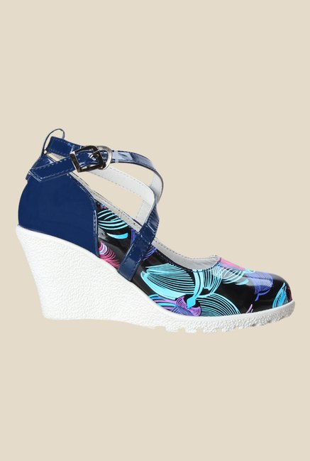 Cobbler's Thread Navy & Black Cross Strap Wedges
