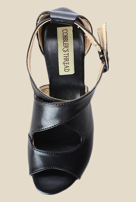 Cobbler's Thread Black Cross Strap Sandals