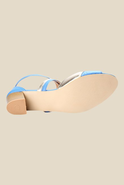 Cobbler's Thread Blue & Golden Cross Strap Sandals