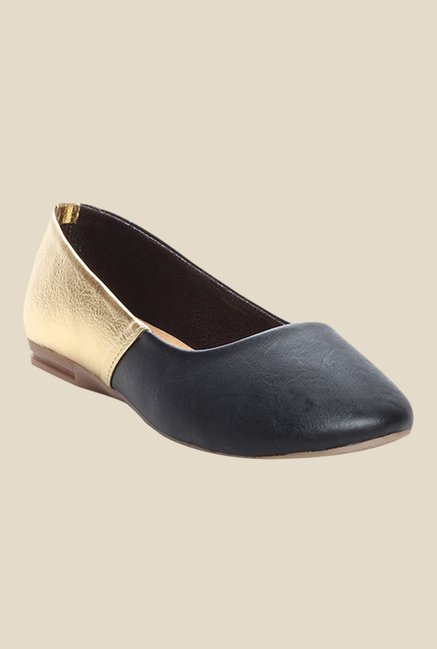 Cobbler's Thread Black & Golden Flat Ballets