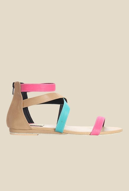 Cobbler's Thread Beige & Pink Casual Sandals