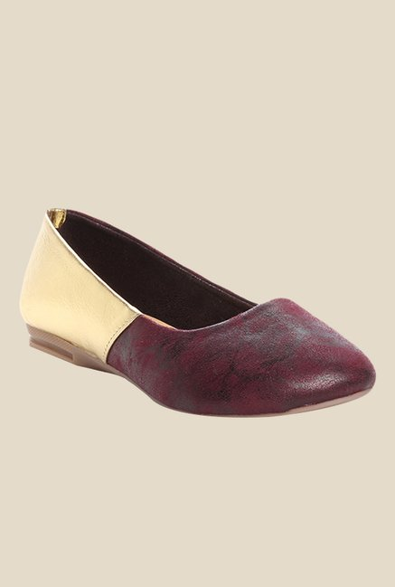 Cobbler's Thread Maroon & Golden Flat Ballets