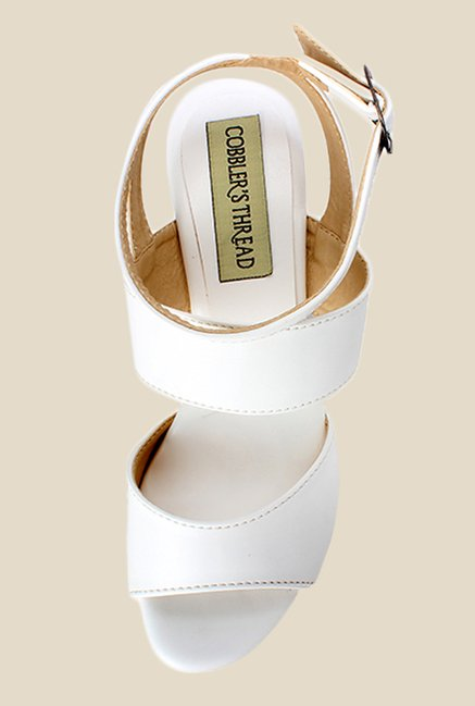 Cobbler's Thread White Ankle Strap Sandals