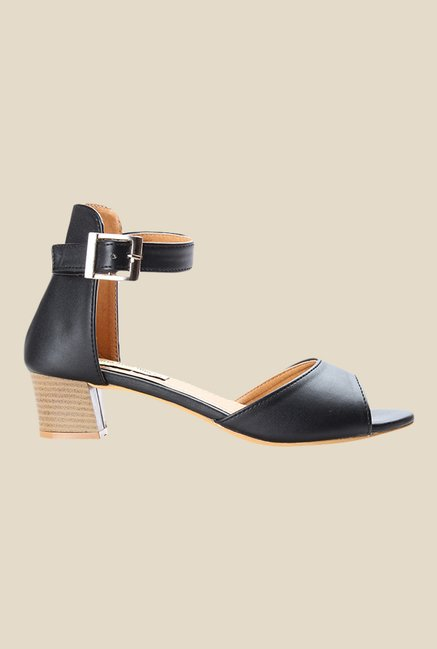 Cobbler's Thread Black Ankle Strap Sandals
