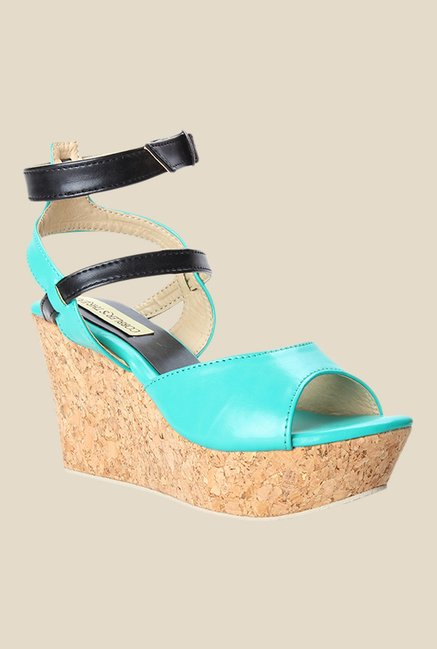Cobbler's Thread Turquoise & Black Ankle Strap Sandals