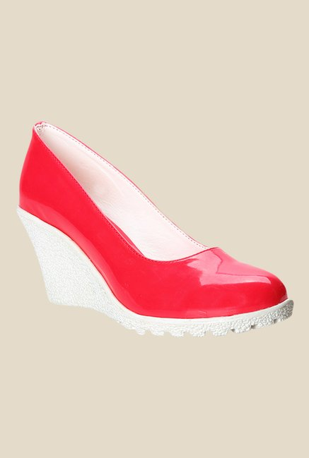Cobbler's Thread Red & White Wedge Heeled Pumps