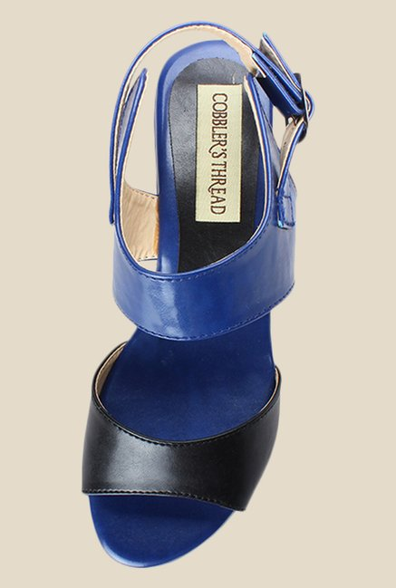 Cobbler's Thread Blue & Black Back Strap Sandals