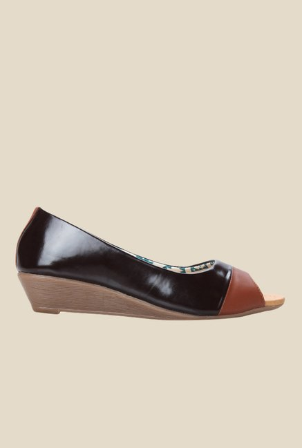 Cobbler's Thread Brown Peeptoe Wedges