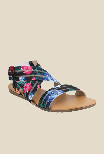 Cobbler's Thread Black & Blue Sling Back Sandals