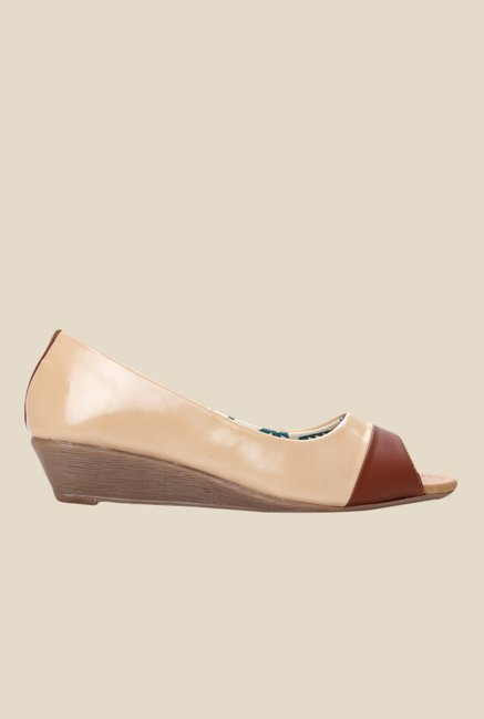 Cobbler's Thread Beige Peeptoe Wedges
