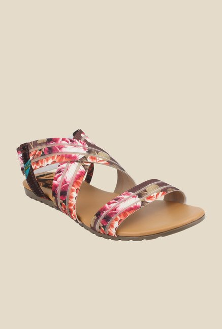 Cobbler's Thread Brown & Red Sling Back Sandals