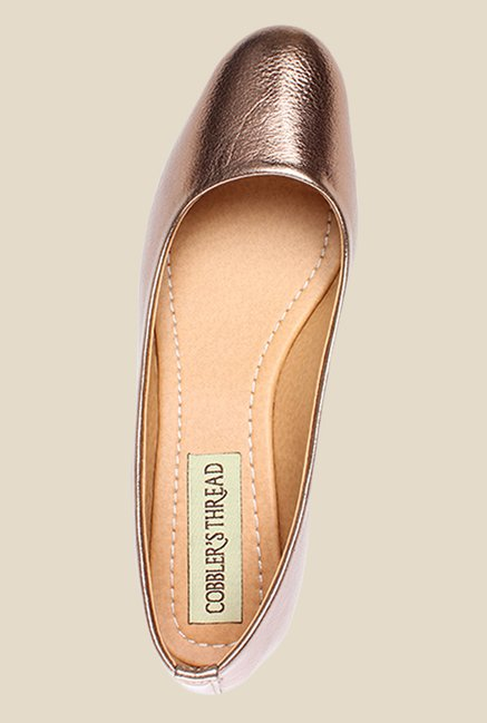 Cobbler's Thread Copper Wedge Heeled Pumps