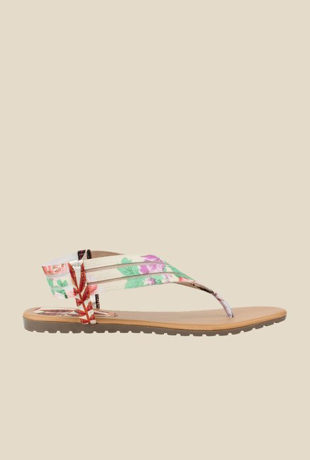 Cobbler's Thread Cream & Green Sling Back Sandals