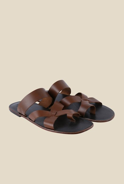 US Polo Assn. Brown Cross Strap Sandals