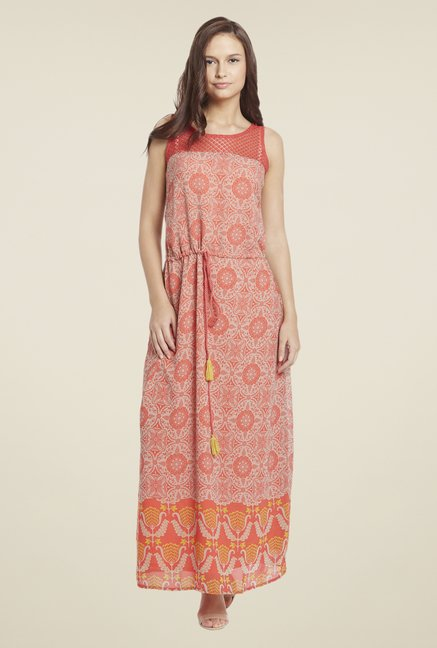 Globus Orange Printed Maxi Dress