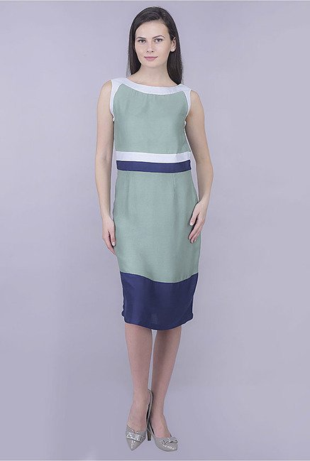 Kaaryah Green And Navy Solid Dress