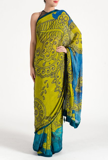 Satya Paul Olive & Blue Crepe Saree
