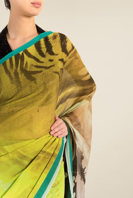 Satya Paul Yellow & Turquoise Georgette Saree