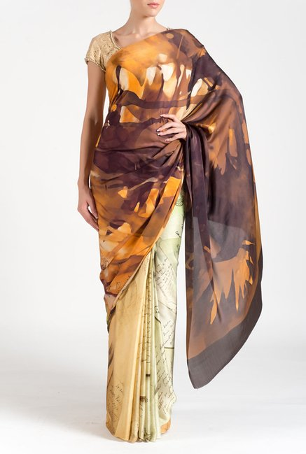 Satya Paul Brown & Beige Georgette Saree