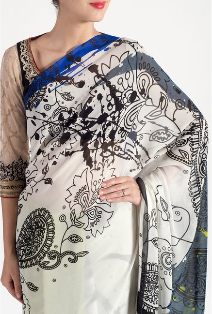 Satya Paul Off White & Black Georgette Saree