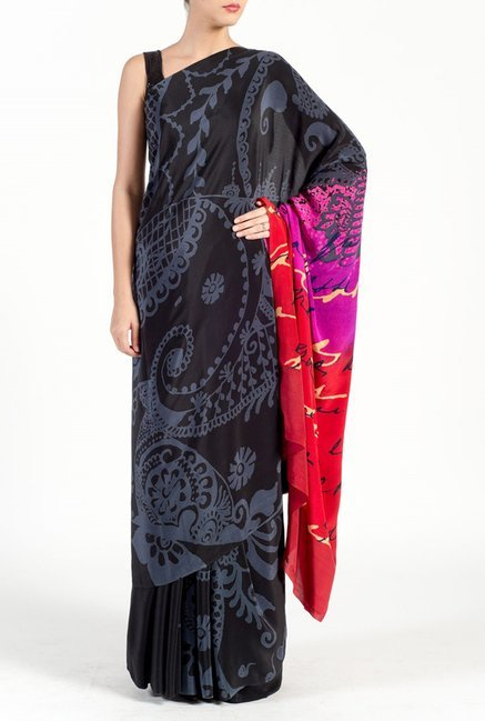 Satya Paul Grey & Black Crepe Saree