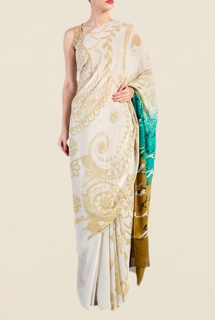 Satya Paul Cream & Beige Georgette Saree