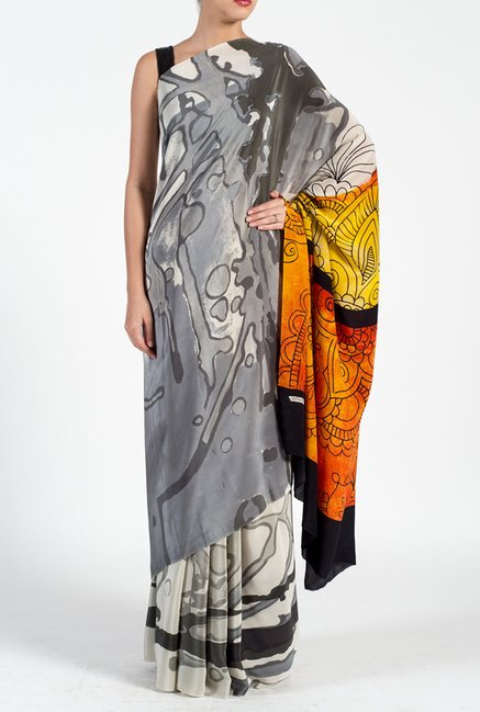 Satya Paul Grey Georgette Saree