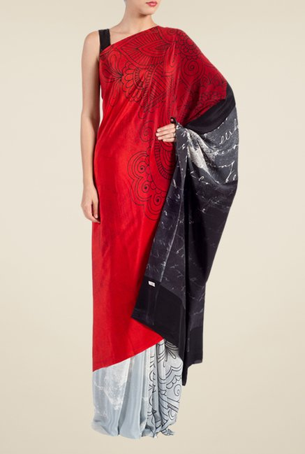 Satya Paul Red & Grey Georgette Saree