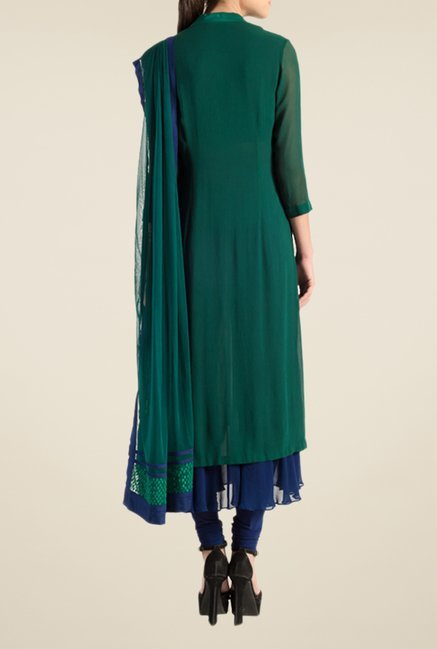 Satya Paul Blue & Green Embellished Georgette Suit Set