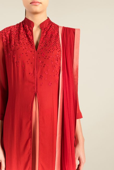 Satya Paul Red & Peach Embellished Georgette Suit Set