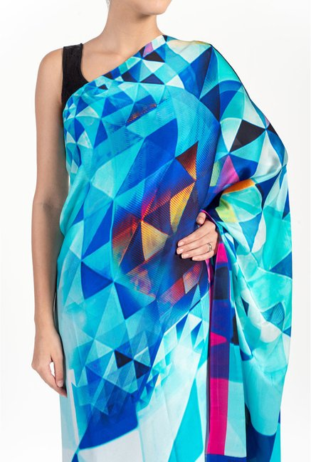 Satya Paul Royal Blue & Turquoise Georgette Satin Saree