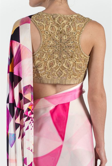 Satya Paul Pink & Cream Georgette Saree