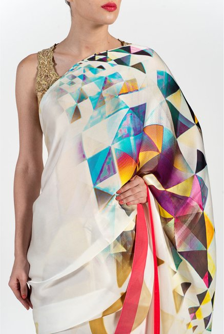 Satya Paul Cream & Yellow Georgette Saree