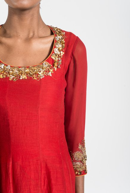 Satya Paul Tomato Red Embellished Chanderi Suit Set
