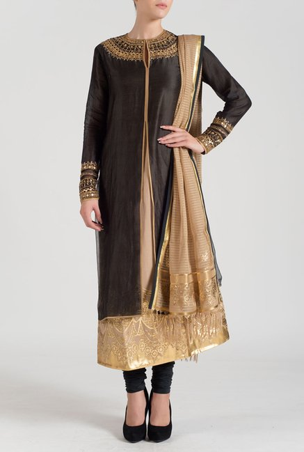 Satya Paul Black & Beige Embroidered Chanderi Suit Set